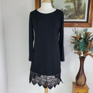 Miyang Black A-Line Dress With Embroidered Hem